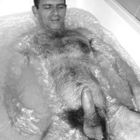 big daddy penis erect in bath hairy chest