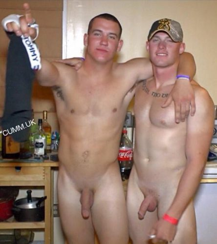 lads naked drinking beer