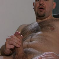 hairy bloke dispays his godly dad dick