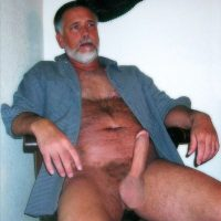 silver daddy shows his big hard cock