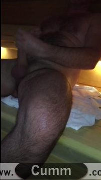 big hairy rugby lad wanking in sauna