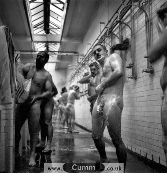 vintage gay fireman hung washing cocks in shower