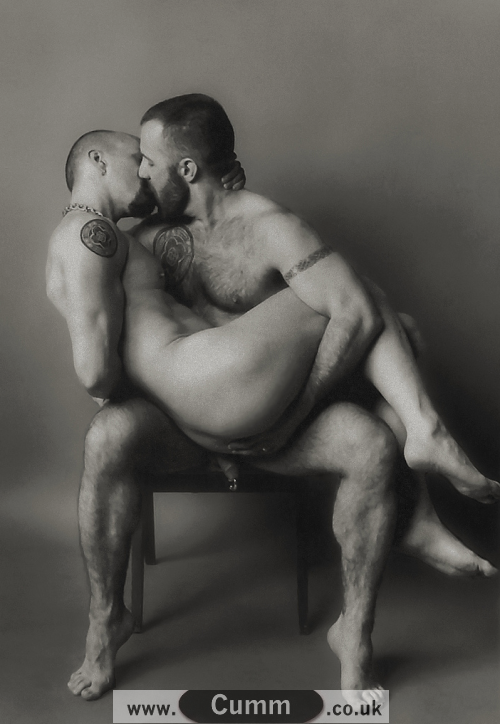 nude men hugging
