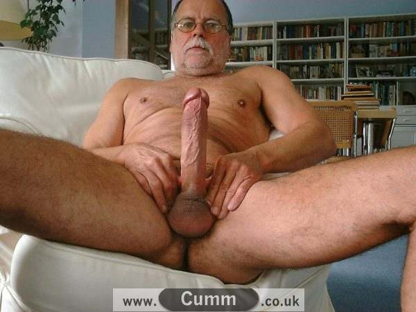older man wanking and showing his fat cock