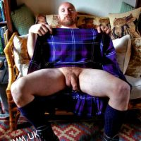 ginger lad kilt cock exposed