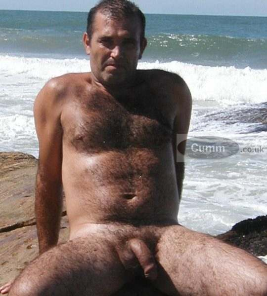 hairy daddy bear nude at beach big cock