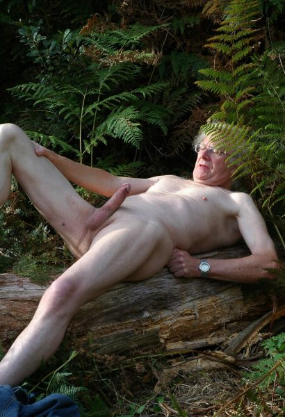 grandpa big cock wank in woods