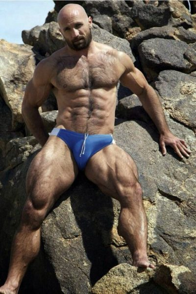 bulge semi rection hairy daddy cub bear otter