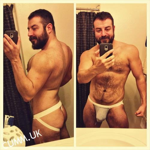 hairy English bloke bulging in new jockstrap