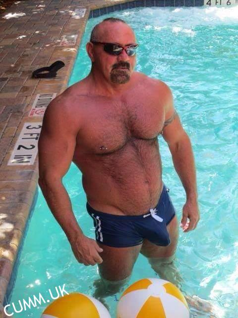 Hairy man in speedos
