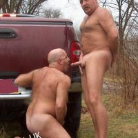 daddy cock sucked outdoors
