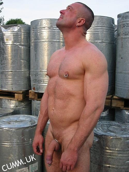 naked workman outdoors