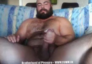 old naked bear really hung wanking his big one, sexy bearded