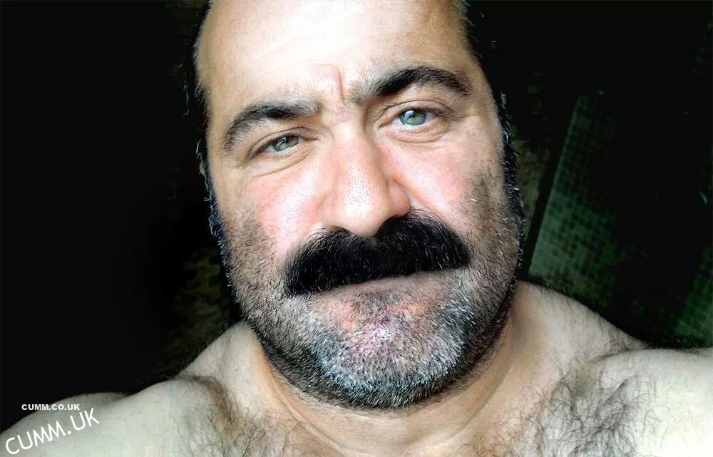older sexy man with amazing eyes hairy hung bull balls