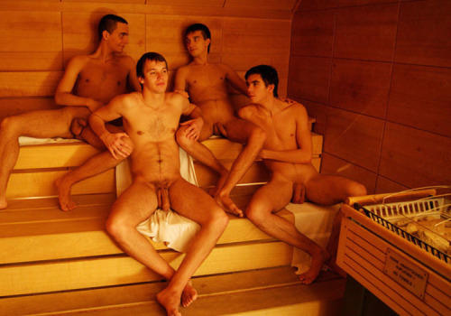 sauna men relaxing naked
