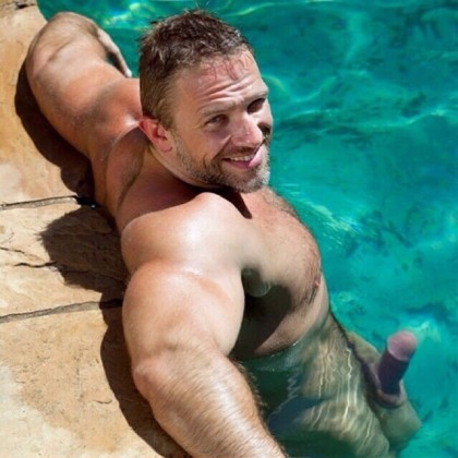 sexy bloke naked erect swimming pool